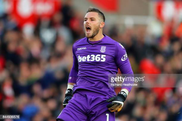 Jack Butland of Stoke City celebrates after his side score their second goal during the Premier League match between Stoke City and Manchester United...