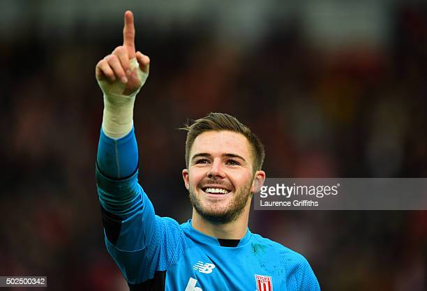 Jack Butland of Stoke City celebrates at the end of the Barclays Premier League match between Stoke City and Manchester United at Britannia Stadium...