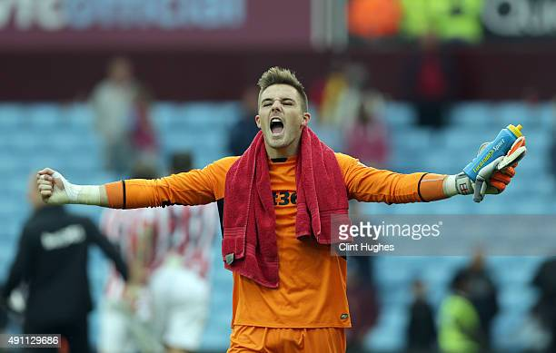 Jack Butland of Stoke City celebrates his sides victory after the final whistle during the Barclays Premier League match between Aston Villa and...