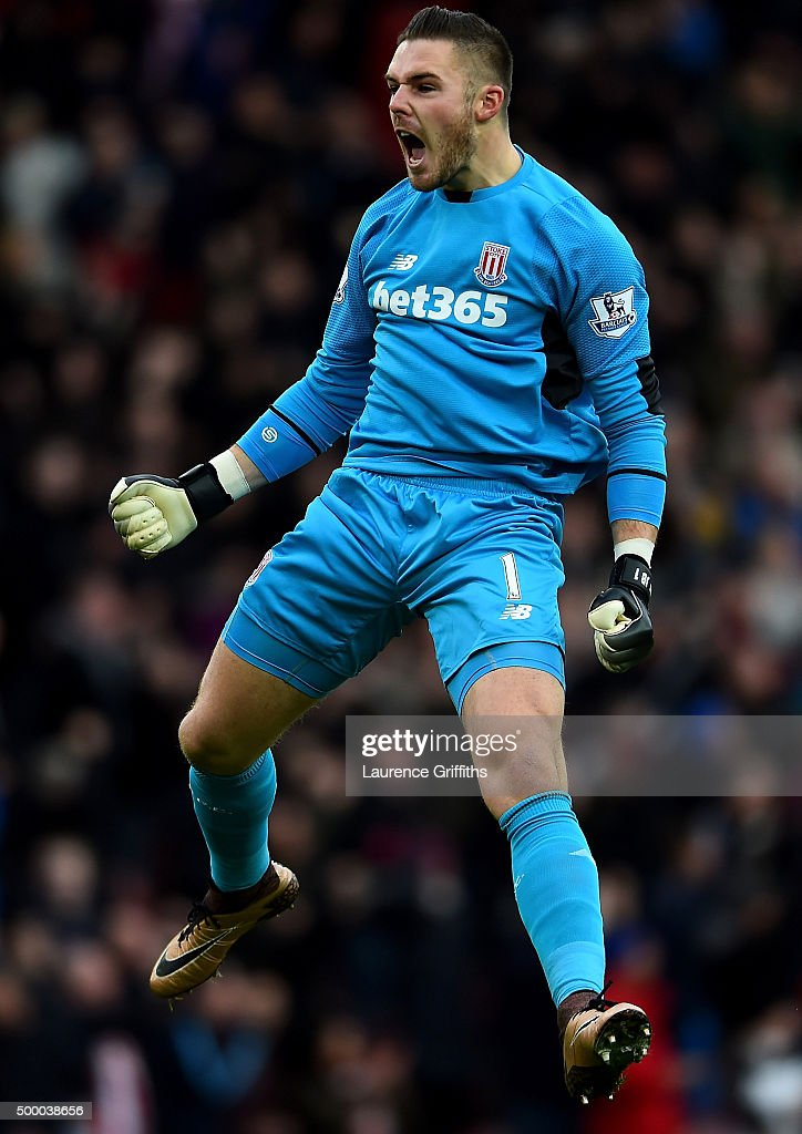 Jack Butland of Stoke City celebrates his team's first goal during the Barclays Premier League match between Stoke City and Manchester City at Britannia Stadium on December 5, 2015 in Stoke on Trent, England.