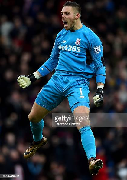 Jack Butland of Stoke City celebrates his team's first goal during the Barclays Premier League match between Stoke City and Manchester City at...