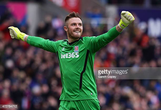 Jack Butland of Stoke City celebrates his team's second goal during the Barclays Premier League match between Stoke City and Tottenham Hotspur at...