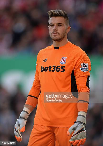Jack Butland of Stoke City during the Barclays Premier League match between Stoke City and Bournemouth on September 26 2015 in Stoke on Trent United...