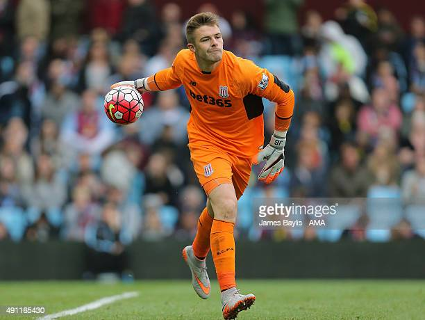 Jack Butland of Stoke City during the Barclays Premier League match between Aston Villa and Stoke City at Villa Park on October 03 2015 in Birmingham...