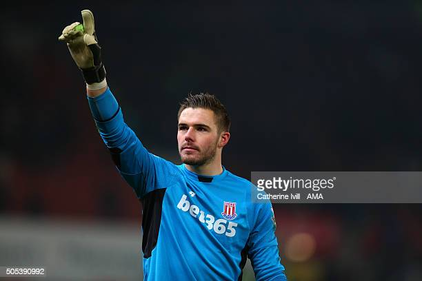 Jack Butland of Stoke City during the Barclays Premier League match between Stoke City and Arsenal at the Britannia Stadium on January 17 2016 in...