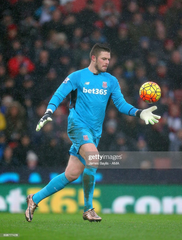 Jack Butland of Stoke City during the Barclays Premier League match between Stoke City and Everton at the Britannia Stadium on February 06, 2016 in Stoke-on-Trent, England.