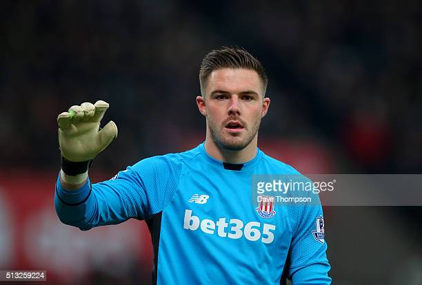 Jack Butland of Stoke City during the Barclays Premier League match between Stoke City and Aston Villa at the Britannia Stadium on February 27 2016...