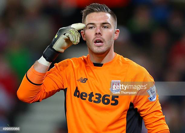 Jack Butland of Stoke City during the Capital One Cup match between Stoke City and Sheffield Wednesday at the Britannia Stadium on December 1 2015 in...