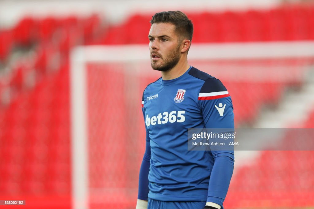 Jack Butland of Stoke City during the Carabao Cup Second Round match between Stoke City and Rochdale at Bet365 Stadium on August 23, 2017 in Stoke on Trent, England.