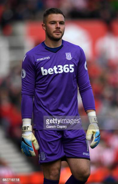 Jack Butland of Stoke City during the Premier League match between Stoke City and Arsenal at Bet365 Stadium on May 13 2017 in Stoke on Trent England