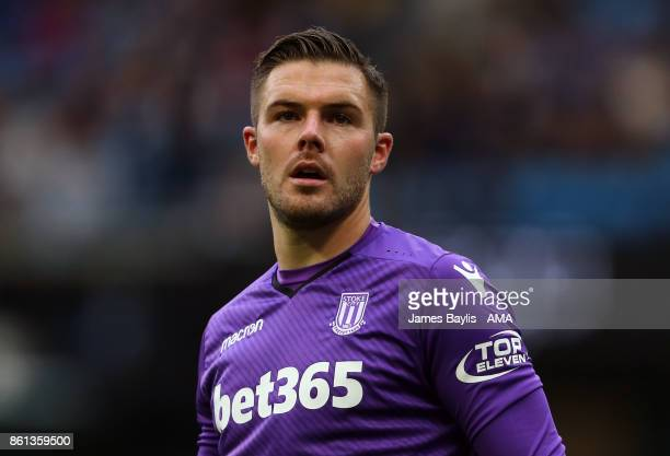 Jack Butland of Stoke City during the Premier League match between Manchester City and Stoke City at Etihad Stadium on October 14 2017 in Manchester...