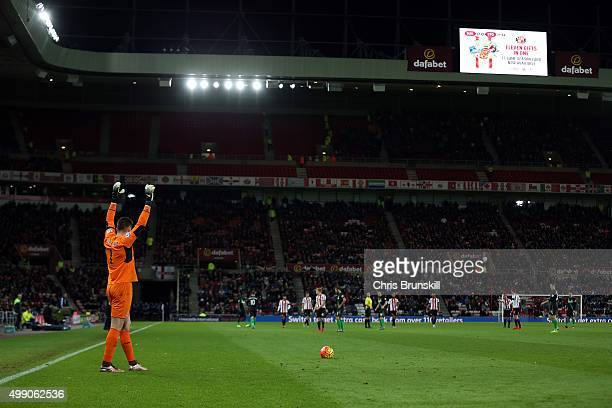 Jack Butland of Stoke City gestures before taking a freekick during the Barclays Premier League match between Sunderland and Stoke City at Stadium of...
