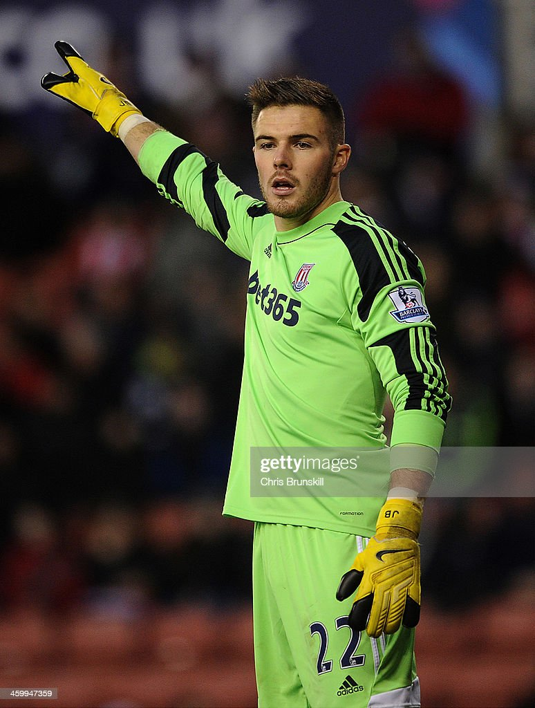 Jack Butland of Stoke City gestures during the Barclays Premier League match between Stoke City and Everton at Britannia Stadium on January 01, 2014 in Stoke on Trent, England.