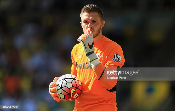 Jack Butland of Stoke City gestures during the Barclays Premier League match between Norwich City and Stoke City at Carrow Road on August 22 2015 in...