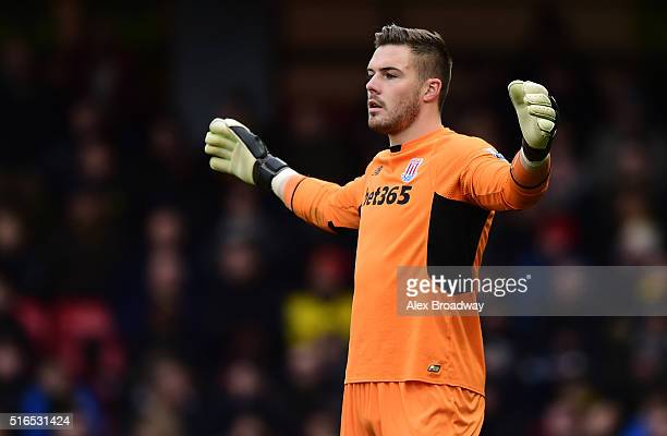 Jack Butland of Stoke City gestures during the Barclays Premier League match between Watford and Stoke City at Vicarage Road on March 19 2016 in...