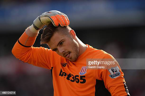 Jack Butland of Stoke City in action during the Barclays Premier League match between Stoke City and AFC Bournemouth at Britannia Stadium on...