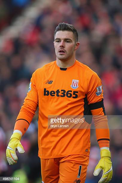 Jack Butland of Stoke City looks on during the Barclays Premier League match between Southampton and Stoke City at St Mary's Stadium on November 21...