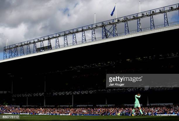 Jack Butland of Stoke City looks on during the Premier League match between Everton and Stoke City at Goodison Park on August 12 2017 in Liverpool...