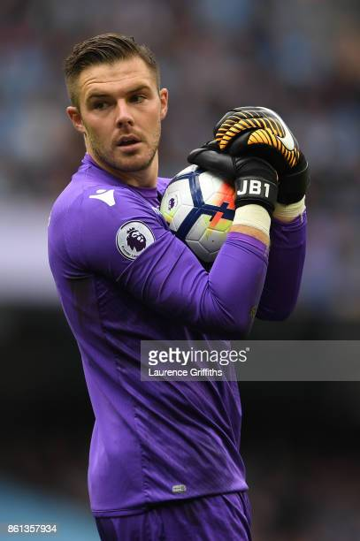 Jack Butland of Stoke City looks on during the Premier League match between Manchester City and Stoke City at Etihad Stadium on October 14 2017 in...