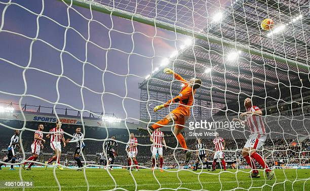 Jack Butland of Stoke City makes a save during the Barclays Premier League match between Newcastle United and Stoke City at St James' Park on October...