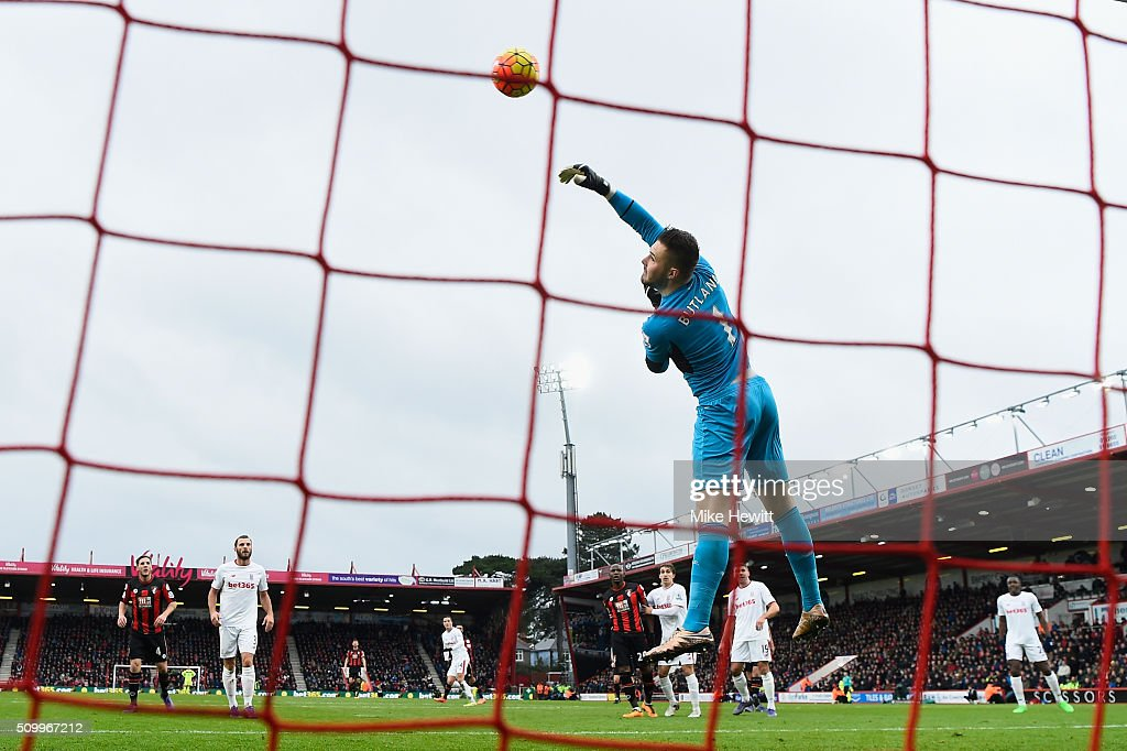 <a gi-track='captionPersonalityLinkClicked' href=/galleries/search?phrase=Jack+Butland&family=editorial&specificpeople=5806431 ng-click='$event.stopPropagation()'>Jack Butland</a> of Stoke City makes a save during the Barclays Premier League match between A.F.C. Bournemouth and Stoke City at Vitality Stadium on February 13, 2016 in Bournemouth, England.
