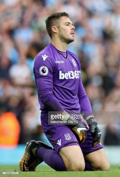 Jack Butland of Stoke City reacts during the Premier League match between Manchester City and Stoke City at Etihad Stadium on October 14 2017 in...