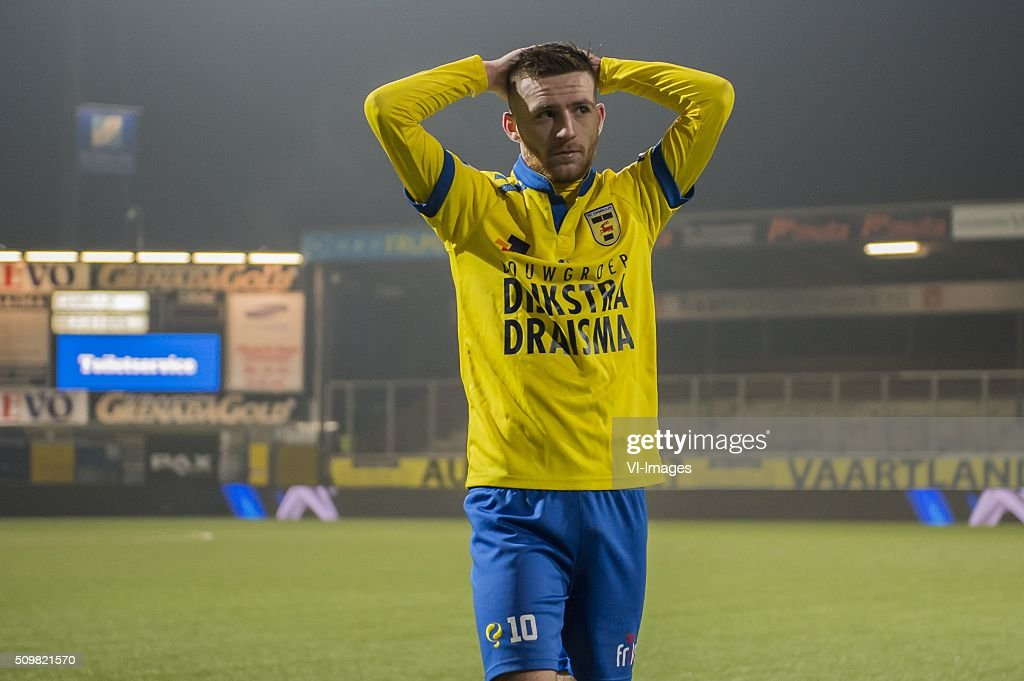 Jack Byrne of SC Cambuur Leeuwarden during the Dutch Eredivisie match between SC Cambuur Leeuwarden and FC Utrecht at the Cambuur Stadium on February 12, 2016 in Leeuwarden, The Netherlands