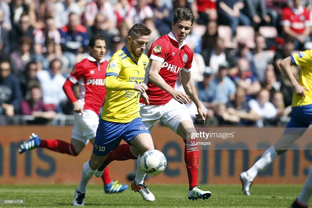 , Jack Byrne of SC Cambuur, Marco van Ginkel of PSV during the Dutch Eredivisie match between PSV Eindhoven and SC Cambuur Leeuwarden at the Phillips stadium on May 01, 2016 in Eindhoven, The Netherlands