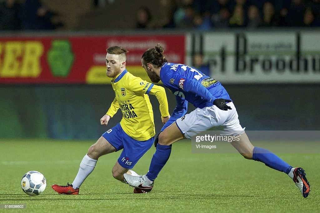 Jack Byrne of SC Cambuur Ugur Inceman of Roda JC during the Dutch Eredivisie match between SC Cambuur Leeuwarden and Roda JC Kerkrade at the Cambuur...