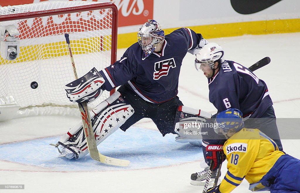 Jack Campbell # 1 and Nick Leddy #6 of the United States fail to stop a shot by Jesper Fasth #18 of Sweden for Sweden's second goal during the 2011 IIHF World U20 Championship Bronze medal game between United States and Sweden at the HSBC Arena on January 5, 2011 in Buffalo, New York. The United States won 4-2 and received the bronze medal.