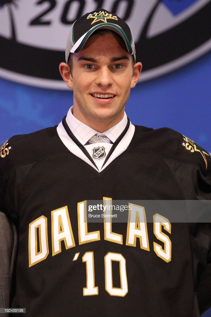 Jack Campbell, drafted 11th overall by the Dallas Stars, poses on stage during the 2010 NHL Entry Draft at Staples Center on June 25, 2010 in Los Angeles, California.