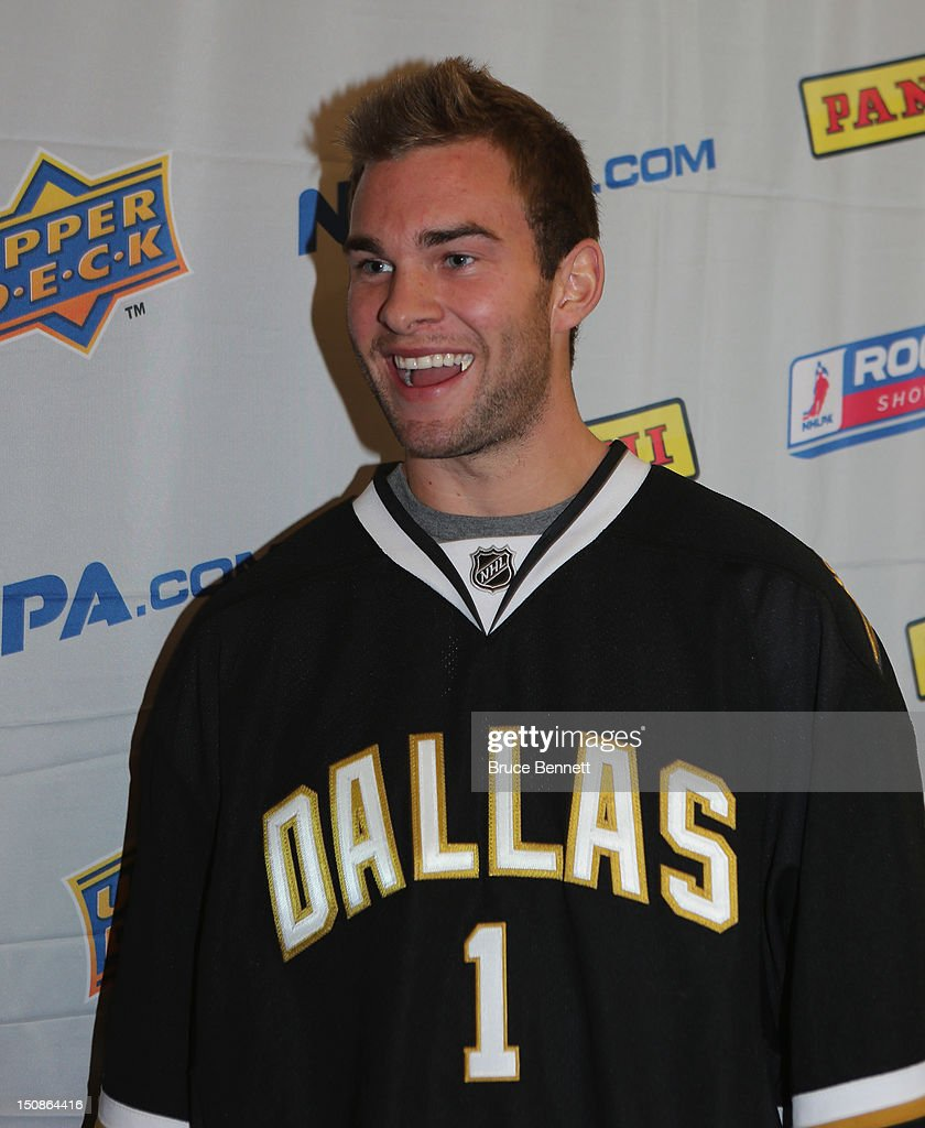Jack Campbell #1 of the Dallas Stars meets with the media at the 2012 NHLPA rookie showcase at the MasterCard Centre on August 28, 2012 in Toronto, Canada.