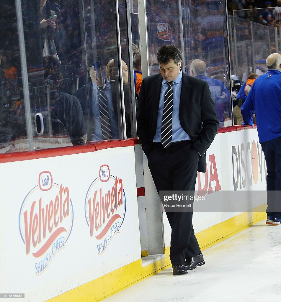 Jack Capuano of the New York Islanders leaves the ice following a 54 loss ot the Tampa Bay Lightning in Game Three of the Eastern Conference Second...