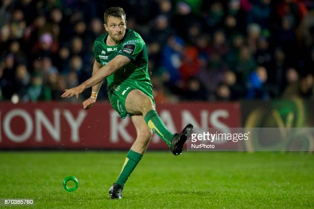 Jack Carty of Connacht kicks a conversion during the Guinness PRO14 Round 8 rugby match between Connacht Rugby and Toyota Cheetahs at the...