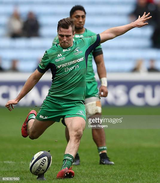 Jack Carty of Connacht kicks a penalty during the European Champions Cup match between Wasps and Connacht at the Ricoh Arena on December 11 2016 in...