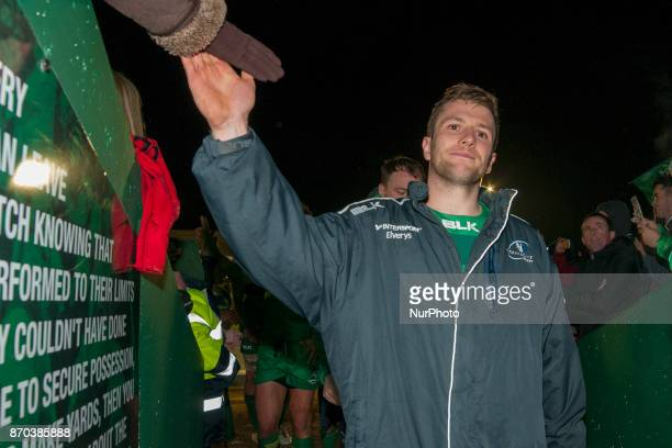 Jack Carty of Connacht thanks his fans during the Guinness PRO14 Round 8 rugby match between Connacht Rugby and Toyota Cheetahs at the Sportsground...