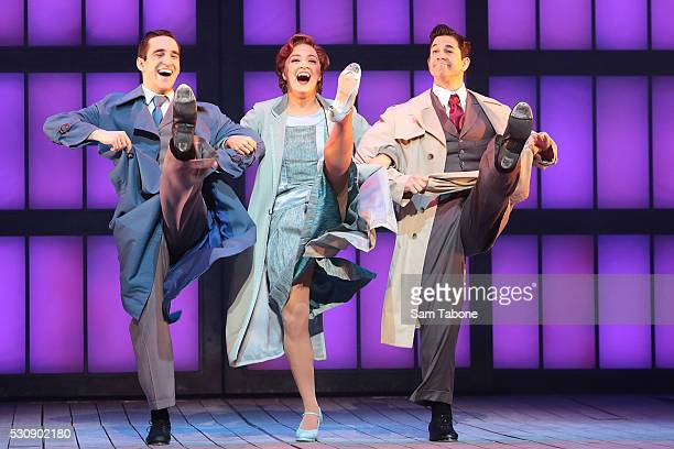 Jack Chambers Gretel Scarlett and Adam Garcia perform during a production media call for Singin' In The Rain at Her Majesty's Theatre on May 12 2016...