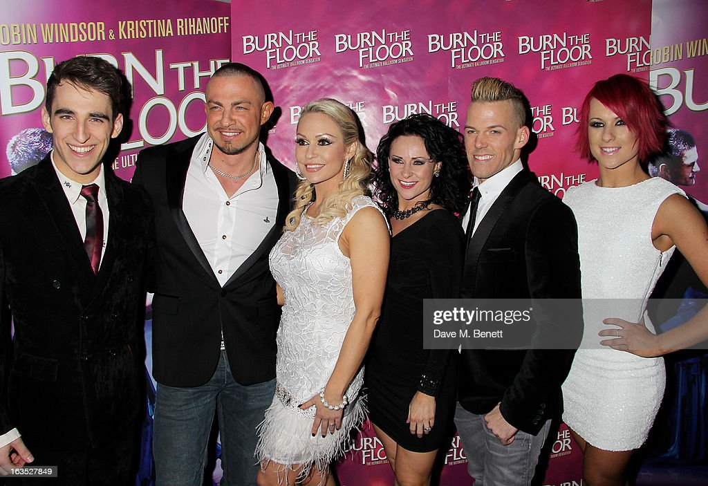Jack Chambers, Robin Windsor, Kristina Rihanoff, Giselle Peacock, Patrick Helm and Jemma Armstrong attend an after party celebrating the press night performance of 'Burn The Floor' at the Trafalgar Hotel on March 11, 2013 in London, England.