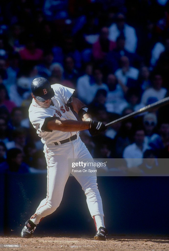 Jack Clark of the Boston Red Sox bats during an MLB baseball game at Fenway Park circa 1991 in Boston Massachusetts Clark played for the Red Sox from...