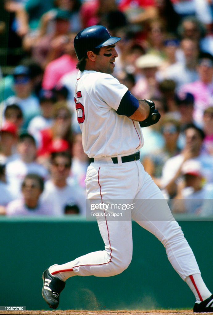 Jack Clark of the Boston Red Sox bats during an MLB baseball game circa 1991 at Fenway Park in Boston Massachusetts Clark played for the Red Sox from...