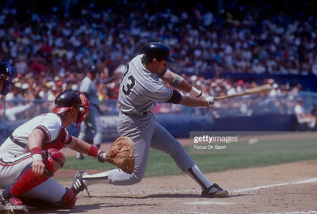 Jack Clark of the New York Yankees bats against the Cleveland Indians during an MLB baseball game at Cleveland Municipal Stadium circa 1988 in...
