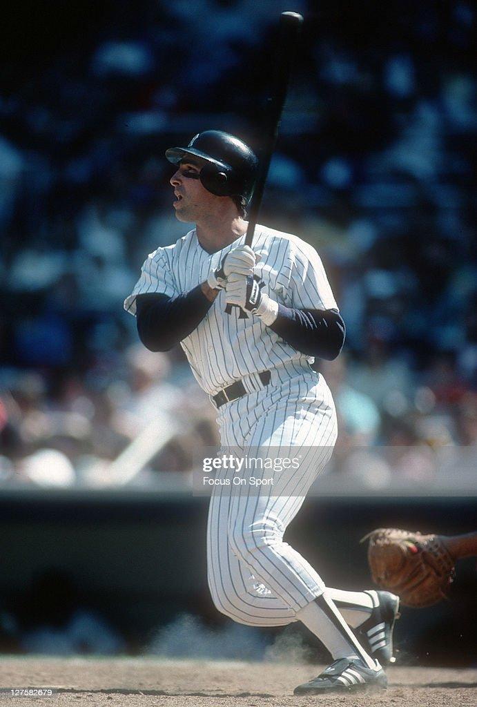 Jack Clark of the New York Yankees bats during an Major League Baseball game circa 1988 at Yankee Stadium in the Bronx borough of New York Clark...