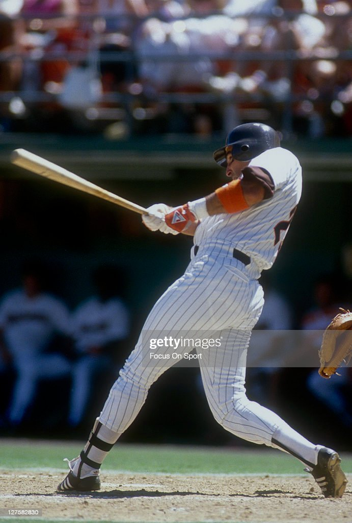 Jack Clark of the San Diego Padres bats during an MLB baseball game at Jack Murphy Stadium circa 1989 in San Diego California Clark played for the...