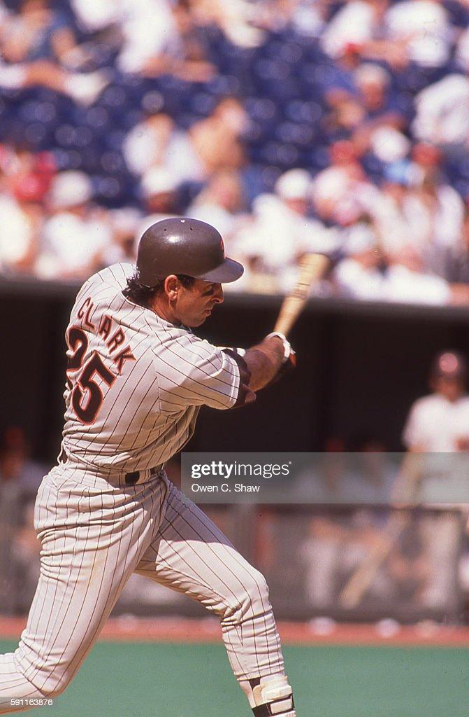 Jack Clark of the San Diego Padres circa 1989 bats at Jack Murphy Stadium in San Diego California