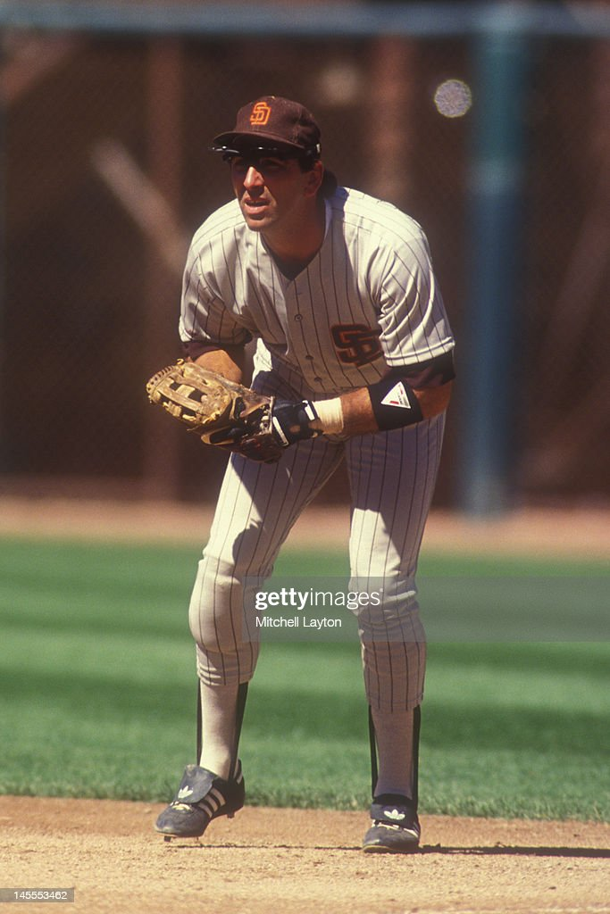 Jack Clark of the San Diego Padres in postion during a baseball game against the Los Angeles Dodgers on August 1 1989 at Jack Murphy Stadium in San...