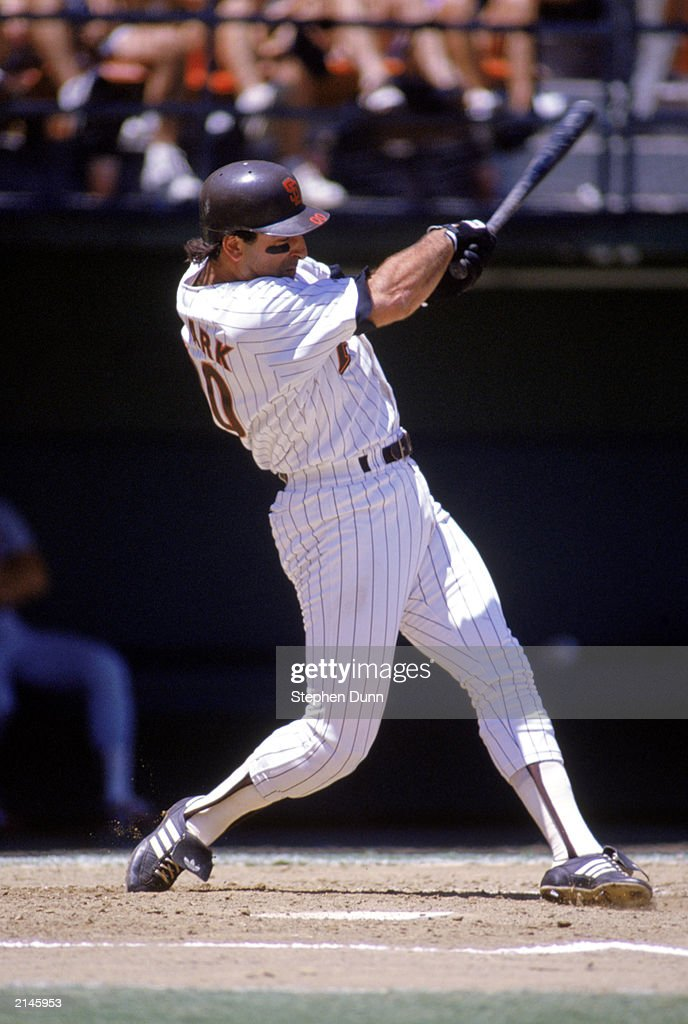 Jack Clark of the San Diego Padres swings at the pitch during the 1990 season