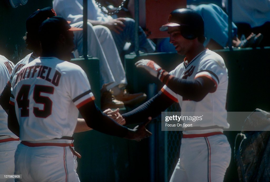 Jack Clark of the San Francisco Giants celebrates after hitting a home run during an MLB baseball game at Candlestick Park circa 1978 in San...