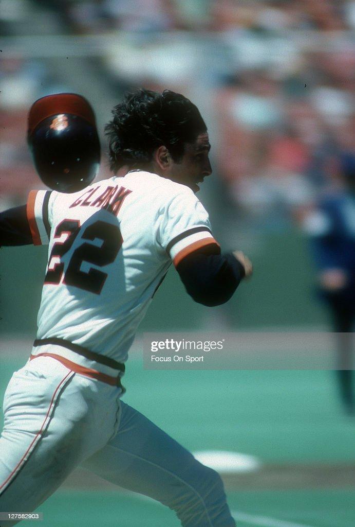 Jack Clark of the San Francisco Giants runs to first base during an MLB baseball game at Candlestick Park circa 1978 in San Francisco California...