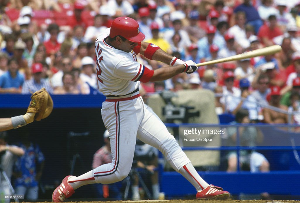 Jack Clark of the St Louis Cardinals bats during an MLB baseball game at Busch Stadium circa 1987 in St Louis Missouri Clark played for the Cardinals...