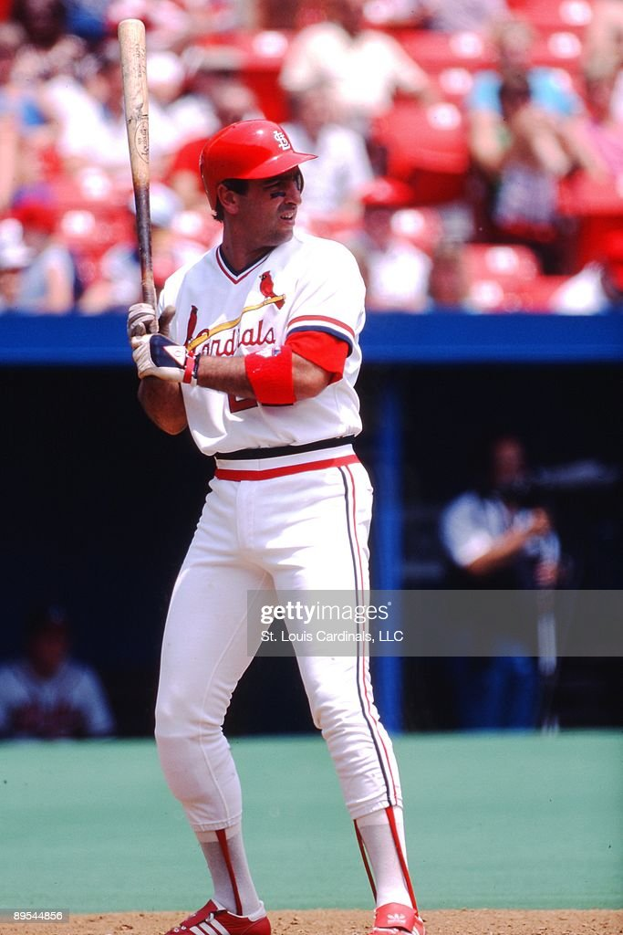 Jack Clark of the St Louis Cardinals stands in the batter's box during a game of the 1987 season at Busch Stadium in St Louis Missouri
